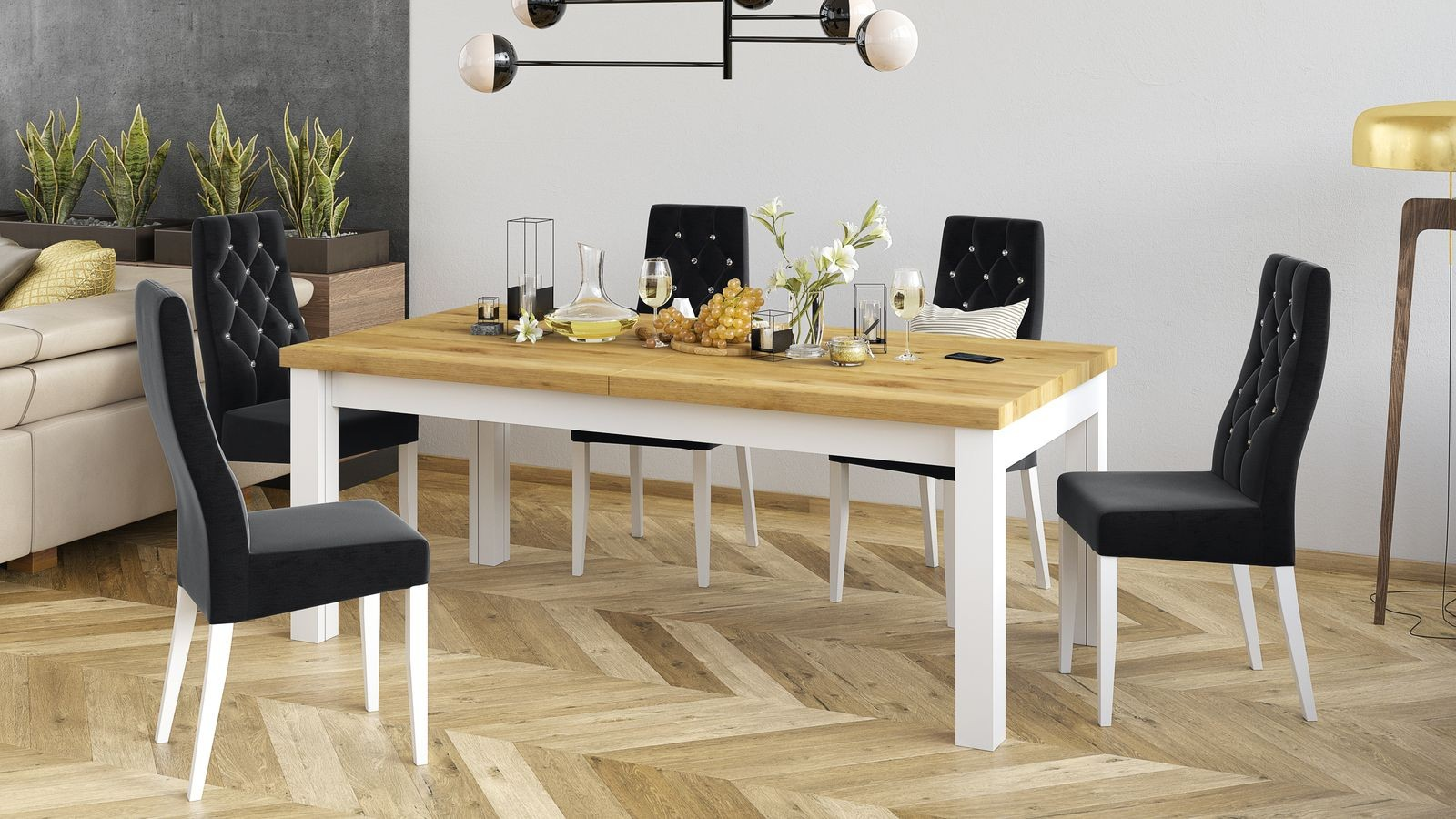stół prowansalski z krzesłami tapicerowanymi do salonu